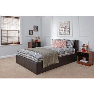An Image of End Lift Ottoman Double Bed In Brown