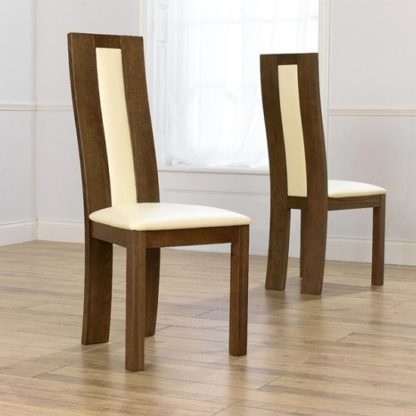 An Image of Marila Dining Chair In Cream PU With Dark Oak Frame In A Pair