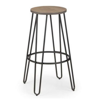 An Image of Dalston Wooden Round Bar Stool In Mocha Elm