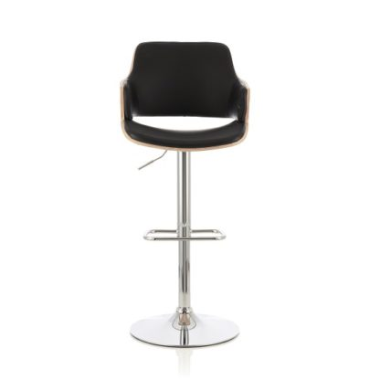 An Image of Finnley Bar Stool In Oak And Black PU With Chrome Base