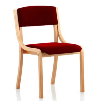 An Image of Charles Office Chair In Chilli And Wooden Frame