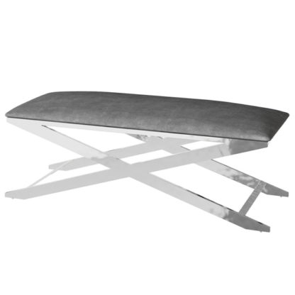 An Image of Vertue Velvet Fabric Upholstered Dining Bench In Dark Grey