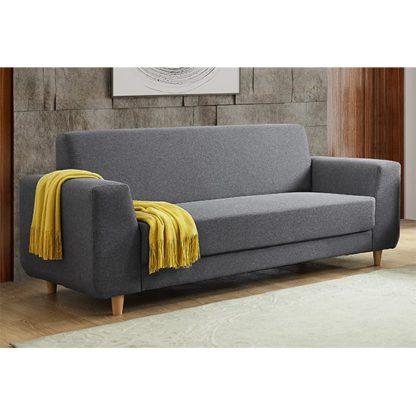 An Image of Fida Fabric 3 Seater Sofa In Dark Grey
