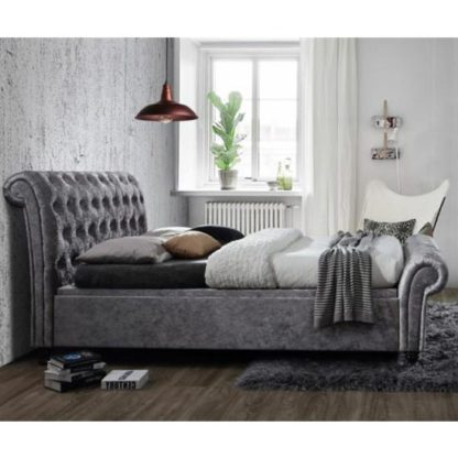 An Image of Castello Side Ottoman King Size Bed In Steel Crushed Velvet