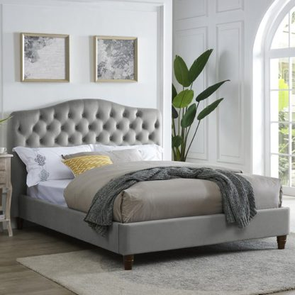 An Image of Sorrento Double Fabric Bed In Cappuccino