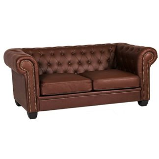 An Image of Winston Leather And PVC 3 Seater Sofa In Auburn Red
