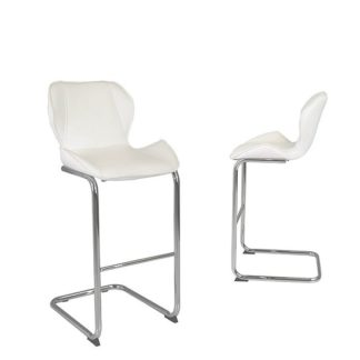 An Image of Kimberly Bar Stools In White Faux Leather In A Pair