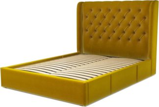 An Image of Custom MADE Romare King size Bed with Drawers, Saffron Yellow Velvet
