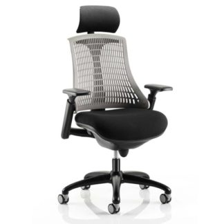 An Image of Flex Task Headrest Office Chair In Black Frame With Grey Back