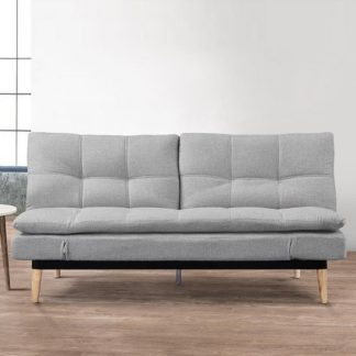 An Image of Krevia Faric Sofa Bed In Light Stone Grey With Wooden Legs