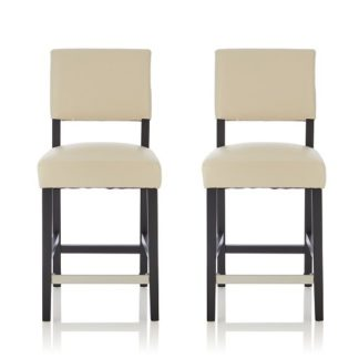 An Image of Vibio Bar Stools In Cream PU With Black Legs In A Pair