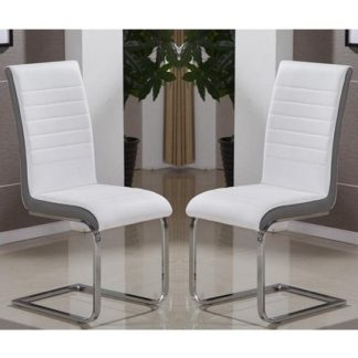 An Image of Symphony Dining Chair In White And Grey PU In A Pair