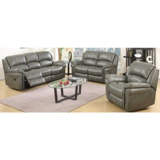 An Image of Lerna Leather 3 Seater Sofa And 2 Seater Sofa Suite In Grey