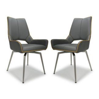 An Image of Mako Swivel Leather Effect Graphite Grey Dining Chairs In Pair