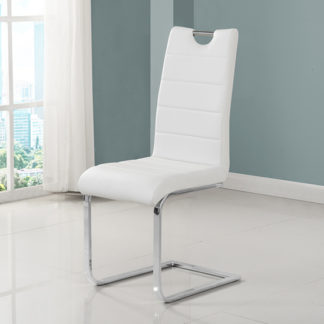 An Image of Petra Faux Leather Dining Chair In White