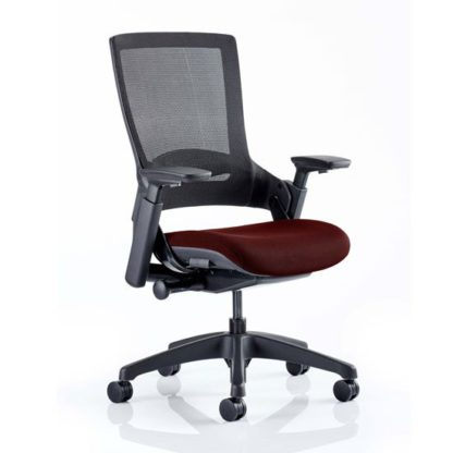 An Image of Molet Black Back Office Chair With Ginseng Chilli Seat
