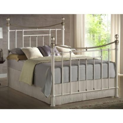 An Image of Bronte Steel Double Bed In Cream