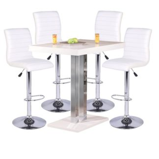 An Image of Palzo Bar Table In High Gloss With 4 Ripple White Stools