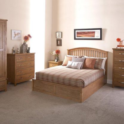 An Image of Madrid Ottoman Wooden Double Bed In Natural Oak