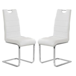 An Image of Petra White Faux Leather Dining Chairs In Pair