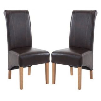 An Image of Logan Two Tone Brown Leather Dining Chair In Pair