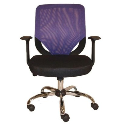 An Image of Atlanta Home Office Chair In Black And Purple With Fabric Seat