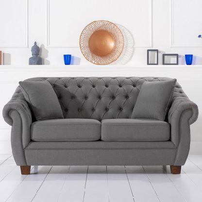 An Image of Sylvan Chesterfield Style Fabric 2 Seater Sofa In Grey Linen