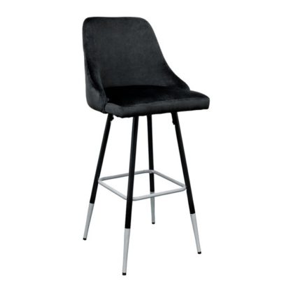 An Image of Fiona Black Fabric Bar Stool With Metal Legs