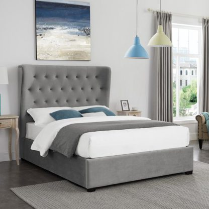 An Image of Belgravia Fabric Super King Size Bed In Grey