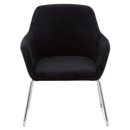 An Image of Porrima Fabric Chair in Black With Stainless Steel Legs