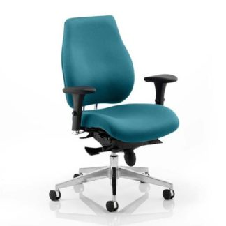 An Image of Chiro Plus Office Chair In Maringa Teal With Arms