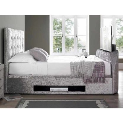 An Image of Hayden Ottoman Super King TV Bed In Crushed Velvet Silver