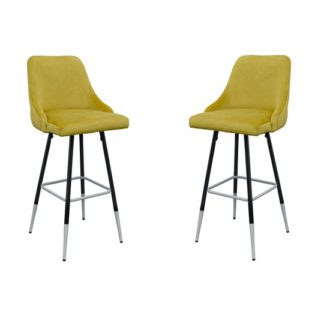 An Image of Fiona Yellow Fabric Bar Stool In Pair