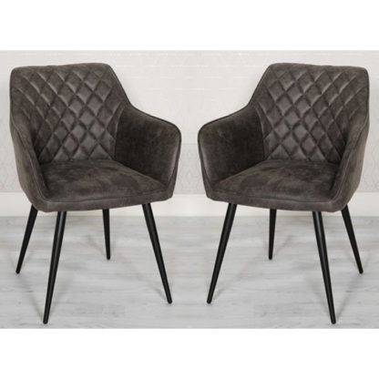 An Image of Charlie Grey Faux Leather Carver Dining Chairs In A Pair