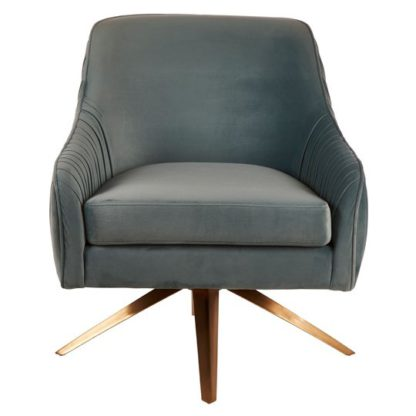 An Image of Kaitos Swivel Blue Chair With Stainless Steel Legs