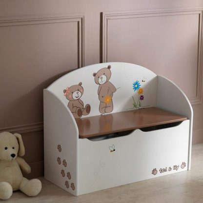 An Image of Britta Toy Box Cum Blanket Box In Chocolate And Beige