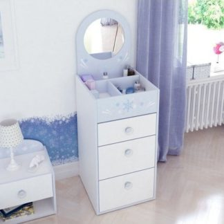 An Image of Curtis Chest Of Drawers In Pearl White Blue Trims With Mirror