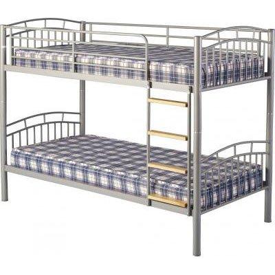 An Image of Ventura 3' Metal Bunk Bed in Silver
