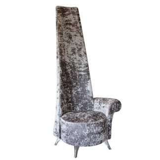 An Image of Wilton Left Handed Potenza Chair In Silver Crushed Velvet