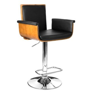 An Image of Audrey Bar Stool In Walnut And Black PU Seat With Chrome Base