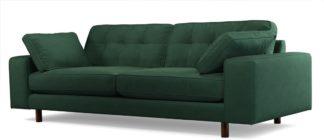 An Image of Content by Terence Conran Tobias, 3 Seater Sofa, Plush Hunter Green Velvet, Dark Wood Leg