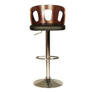 An Image of Hesket Bar Stool In Walnut And Black PU With Chrome Plated Base