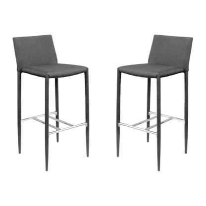 An Image of Selina Black Fabric Bar Stool In Pair