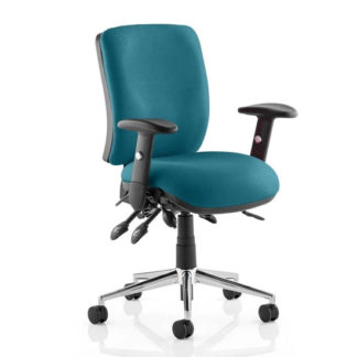 An Image of Chiro Medium Back Office Chair In Maringa Teal With Arms