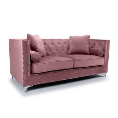 An Image of Dorchester Brushed Velvet 3 Seater Sofa In Pink Blush