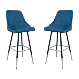 An Image of Fiona Blue Fabric Bar Stool In Pair