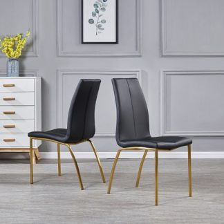 An Image of Opal Dining Chair In Black Faux Leather With Brushed Gold Base