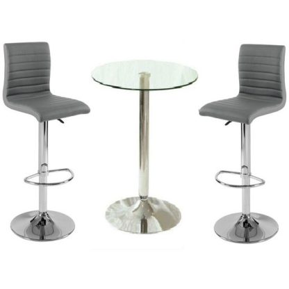 An Image of Gino Clear Glass Bar Table And 2 Ripple Charcoal Grey Bar Stools