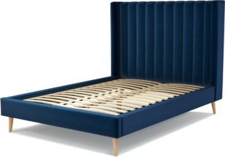 An Image of Custom MADE Cory Double size Bed, Regal Blue Velvet with Oak Legs