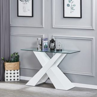 An Image of Gabriella Clear Glass Console Table With White Gloss Base